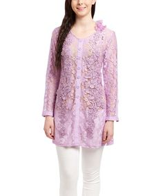 Another great find on #zulily! Lavender Floral Lace Silk-Blend Button-Up Tunic by Pretty Angel #zulilyfinds