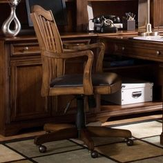 Traditional Wooden Back Faux Leather Computer Chair #traditionaloffice | National Business Furniture