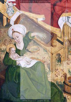 Geburt Mariens       Dieses Bild: 019331      Kunstwerk: Malerei-Holz ; Einrichtung sakral ; Flügelaltar   Dokumentation: 1490 ; 1510 ; Ansbach ; Deutschland ; Bayern ; Evang. Stadtpfarrkirche St. Gumbertus