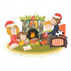 Family Celebrating Christmas At Fireplace