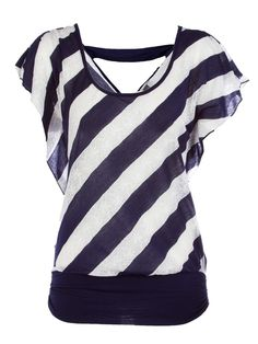 Diagonal Striped Lace Top