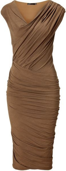 Donna Karan New York Clay Cap Sleeve Twist Drape Dress