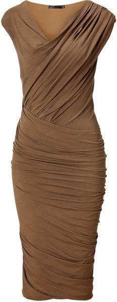Donna Karan New York Clay Cap Sleeve Twist Drape Dress
