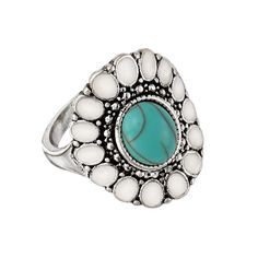 Part of the Sunbeam Collection is this antiqued silvertone ring with the look of natural turquoise. The silvertone oval floral motif ring features a faux turquoise-colored center stone surrounded by white stones. Fashion Rings, Fashion Jewelry, Women Jewelry, Avon Rings, Avon Fashion, Wing Earrings, Watch Necklace, Summer Accessories, Turquoise Jewelry