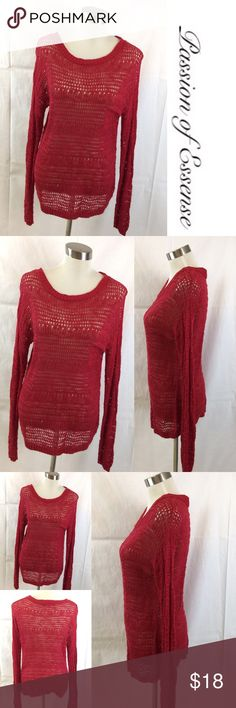 Red scoop Neck Pullover Knit Sweater Featuring a charming design, this sweater is sure to become a wardrobe favorite. Made in USA 58% cotton 48% rayon machine washable Charming Charlie Sweaters Crew & Scoop Necks