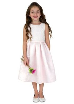 lavender by Us Angels  Flower Girl Satin And Lace Sleeveless Lace Popo
