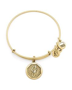 Alex and Ani Initial Bangle | Gold-tone or silver-tone plating on recycled brass…