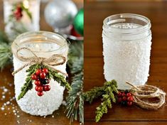 13 Dreamy DIY Crafts for Christmas House Decor That You Would Like - Top Inspirations Mason Jar Centerpieces, Christmas Centerpieces, Christmas Mason Jars, Christmas Crafts, Christmas Ideas, Diy And Crafts Sewing, Diy Crafts, Living Room Small, Decor Inspiration