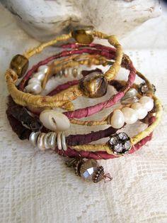 Handmade Gypsy  Bangle Bracelet Stack Wire Wrapped Boho Bracelet Wrapped Tribal Stack Tribal Bracelets Gypsy Bracelet Stack Beaded Stack