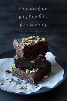 Incredible holiday lavender pistachio brownies! Holidays are all about gathering together. So why not bake a batch of brownies to share? Want to show a little extra appreciation, AMERICAN HERITAGE® Chocolate has developed a stunner - so good!
