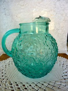 Aquamarine Blue Pitcher Anchor Hocking Glass Milano Lido
