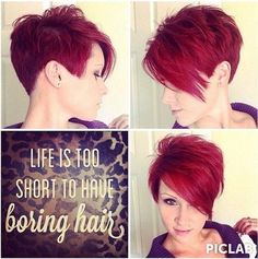 Red Long Pixie Haircut