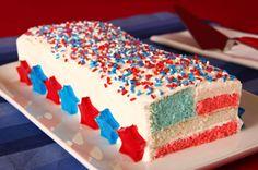 Star-Spangled Flag Cake recipe #dessert #4thofJuly