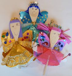 Wooden spoon puppet princes, princesses, fairies, kings and queens.