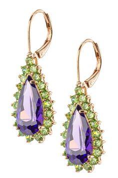 Amethyst & Green CZ Pear Drop Earrings