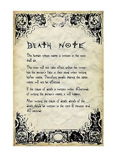 Death Note Rules Poster   Hot Topic