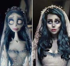 """Remake of my make-up on Emily from """"Corpse Bride"""". this is my favorite cartoon by Tim Burton. And yeah, and I still cry every time I hear a """"Tears to shed"""" 🖤 . Looks Halloween, Amazing Halloween Makeup, Halloween Inspo, Halloween Cosplay, Halloween Outfits, Halloween Costumes, Halloween Face Makeup, Skeleton Costumes, Halloween Halloween"""