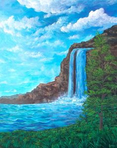 Waterfall 1 acrylic painting by Seence Easy Landscape Paintings, Simple Acrylic Paintings, Acrylic Painting Canvas, Landscape Art, Small Canvas Art, Diy Canvas Art, Canvas Art Prints, Waterfall Drawing, Waterfall Paintings