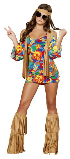 RM4436 Three Piece Hippie Hottie Women's Halloween Costume by Roma