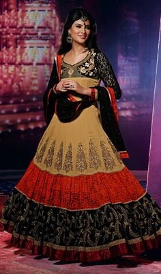 Bollywood Star Geeta Basra Georgette Net Long Anarkali Suit Price: Usa $145, British UK Pound £85, Euro107, Canada CA$155 , Indian Rs7830.
