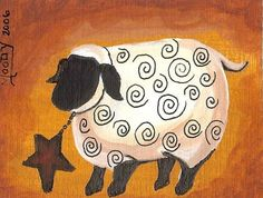 free images for primitive painting | Art: ACEO Folk Art Sheep Primitive Miniature Painting by Moody by ...