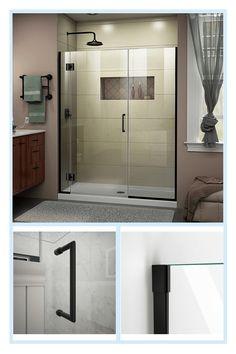 Modern Shower Doors, Frameless Shower Doors, Small Bathroom, Master Bathroom, Bathroom Ideas, Basement Bathroom, Bath Ideas, Shower Ideas, Bathtub Doors