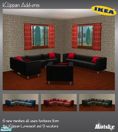 Modular system for your Klippan Livingroom and a Sofa and chair with cushions. 6 new meshes, all uses the textures from the Klippan Loveseat from the Ikea EP. Also 9 recolors available.  Found in...