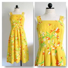 Malia Honolulu Vintage 1970s Sunny Yellow Floral Woven Cotton Hawaiian Dress from VintageHag.com, $55.00