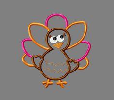 Girl turkey applique embroidery design