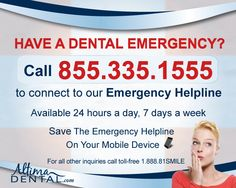 Have a dental emergency? Call our Emergency Helpline for immediate assistance!  Our toll-free Emergency Helpline is available 24 hours a day, 7 days a week for immediate dental emergency assistance - even on holidays! Your call will be answered by a live operator who can connect you to the nearest, open Altima Dental Centre, or direct you to an emergency centre.  Save the Altima Emergency Helpline number on your mobile device in case of a dental emergency: 1.855.335.1555