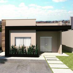 100 fachadas de casas modernas e incríveis para inspirar seu projeto My House Plans, Small House Plans, Small House Design, Modern House Design, Plans Architecture, Architecture Design, Bungalow Haus Design, Modern House Facades, Facade Design
