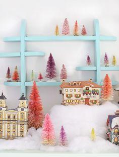Cute winter Christmas scene with bottle brush trees