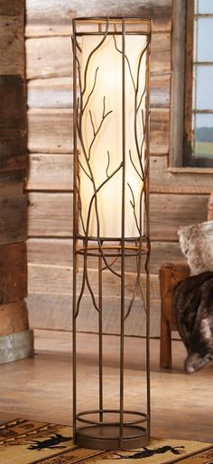 rustic flooring Willow Branch Light: Combining contemporary style with a rustic willow branch design, this metal rustic floor lamp has an antique finish and linen shade. Rustic Floor Lamps, Rustic Lamps, Rustic Lighting, Cabin Lighting, Rustic Decor, Antler Chandelier, Willow Branches, Large Chandeliers, Rustic Bathroom Decor