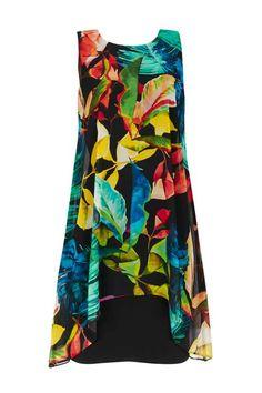 Black Tropical Print Overlay Dress