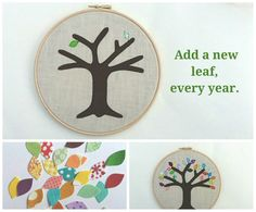 Cotton anniversary gift  add a new leaf each year by tailorbirds