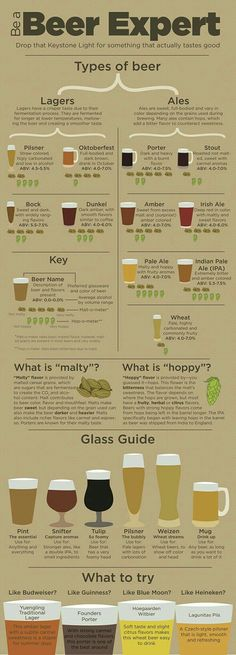 Infographic provides guidance for non-craft beer drinkers Beer Guide, types of beer, become a beer expert. Ever stand in the liquor store wondering what new beer to try yet thinking whether you will like it? All Beer, Wine And Beer, Beer 101, What Is Beer, Good Beer, Sake Wine, Beer Brewing, Home Brewing, Beer Types