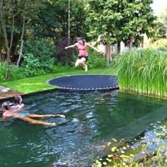 Pool disguised as pond with in ground trampoline as a faux diving board! how fun is that!not fond of pond pool but love trampoline idea! Trampolines, In Ground Trampoline, Sunken Trampoline, Trampoline Ideas, Backyard Trampoline, Pool Backyard, Backyard Seating, Backyard Landscaping, Landscaping Design