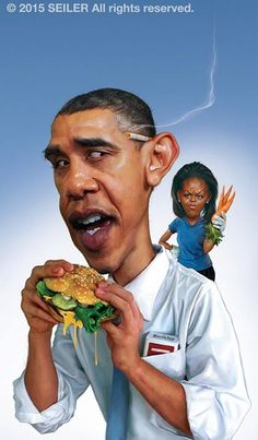 Barack And Michelle Obama Caricatures.