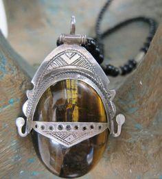 Big Tuareg Amulet with Tigereye Stone Pure Silver by TuaregJewelry By Ineke Hemminga