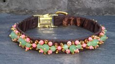 Items similar to Green and Pink Luxury Dog Collar with Sea Glass Green Beads, Pink Coral, and Glass Beads on Silk on Etsy Gold Glass, Sea Glass, Luxury Dog Collars, Shelves In Bedroom, Bead Weaving, Seed Beads, Bracelet Watch, Glass Beads, Pets