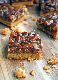 Pecan Pie Bars - These are SO much easier than making a pie, and taste just like the real thing! Plus no corn syrup! Full recipe at theliveinkitchen.com
