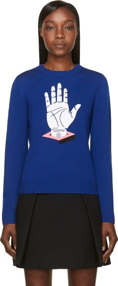 Opening Ceremony - Cobalt Cube Hand Embroidered Crewneck Sweater