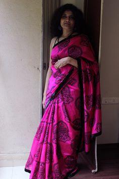OnuOru » Rani pink Chanderi saree with black shimmer border