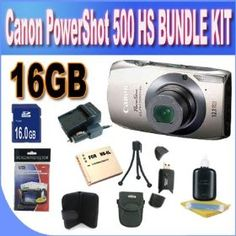 Canon PowerShot ELPH 500 HS 12.1 MP CMOS Digital Camera with Full HD Video and Ultra Wide Angle Lens (Silver) +16GB SDHC Memory + Extended Life Battery + Charger + USB Card Reader + Shock Proof Case + Memory Card Wallet + Accessory Kit! Price:$265.39