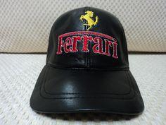 8285dcecdba0b Buy Online Adjustable Black Very Soft Lambskin Ferrari Leather Baseball Hat  Cap. Free Shipping +