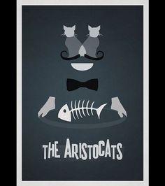 Affiche des Aristochats de Disney en version minimaliste par Rowan Stocks-Moore