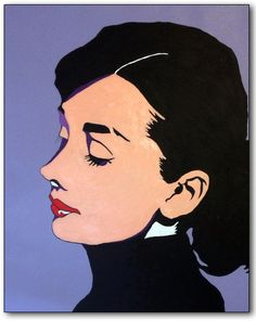 """An original painting... """"Audrey"""" is a contemporary piece inspired by my love of Audrey Hepburn's enduring beauty and classic style... a style that is still relevant today!"""