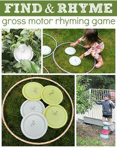 Outdoor Rhyming Game- Literacy and Gross Motor Activity for the Outdoor Classroom Rhyming Activities, Gross Motor Activities, Preschool Literacy, Gross Motor Skills, Early Literacy, Language Activities, Literacy Activities, Activities For Kids, Teaching Phonics