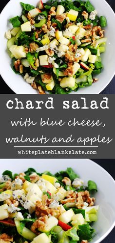 Chard salad with blue cheese, walnuts and apples This crunchy chard salad is a great way to use Swiss chard and is packed with flavor from apples, walnuts and blue cheese in a simple cider vinaigrette. Gourmet Recipes, Soup Recipes, Vegetarian Recipes, Cooking Recipes, Healthy Recipes, Great Salad Recipes, Salad Ideas, Vinaigrette, Swiss Chard Salad