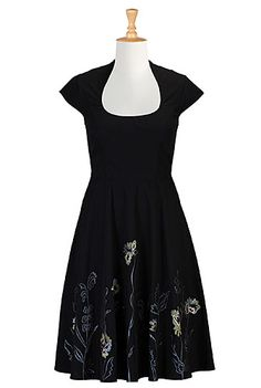 Embellished A-line poplin dress from eShakti: below-the-knee length and princess-seamed bodice, machine washable. $90